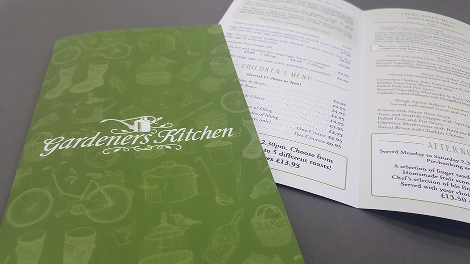 Menu printing in Norwich.